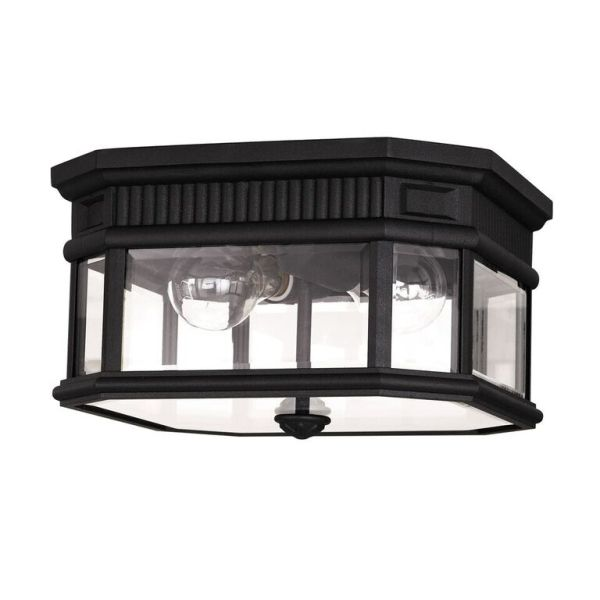 Elstead Cotswold Lane Black Flush Ceiling Light