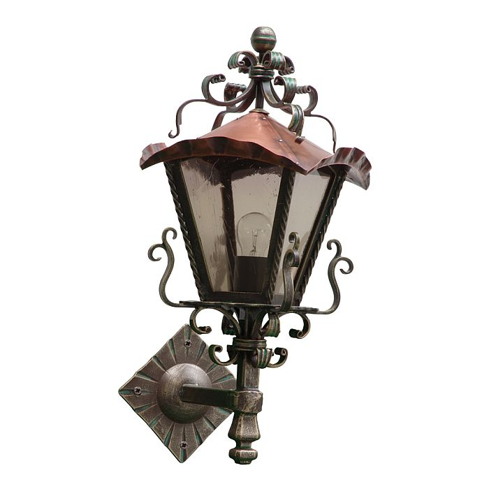 'Quadrus' Wrought Iron And Solid Copper Wall Light