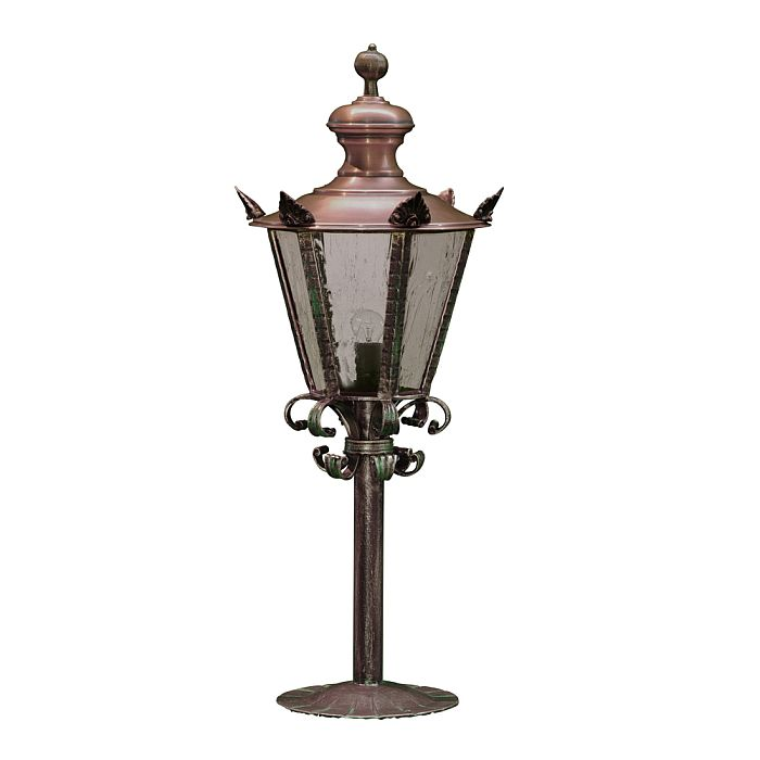 'Hexagon' Wrought Iron And Solid Copper Pedestal Lantern