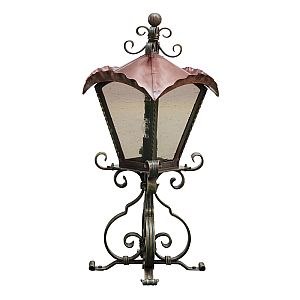 Quadrus Wrought Iron Pedestal Lantern