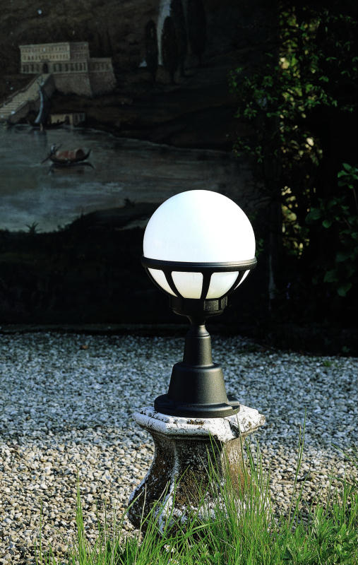 white globe pedestal lantern Outdoor Lighting Centre