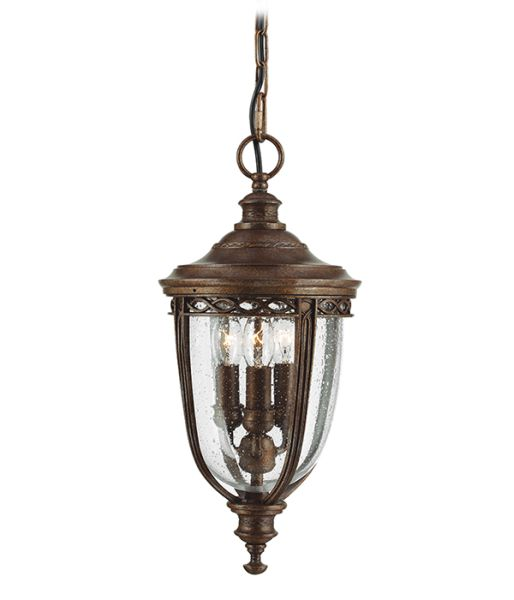 Feiss English Bridle Medium Pedestal Lantern Light Black: Feiss English Bridle Bronze Chain
