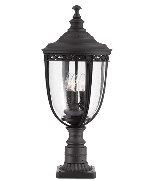 Feiss English Bridle Medium Pedestal Lantern Light Black: Feiss Large English Bridle Pedestal