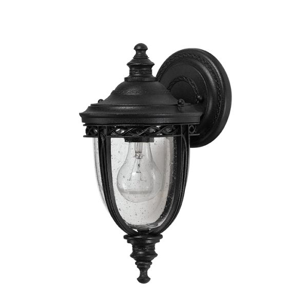 Feiss English Bridle Medium Pedestal Lantern Light Black: Feiss Outdoor Lighting